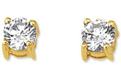"14K Yellow Gold Shiny 5.0mm (1/5"") Round Faceted White Cubic Zirconia (CZ) Stud Earrings"