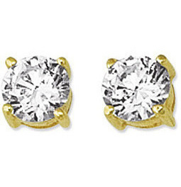 "14K Yellow Gold Shiny 6.0mm (1/4"") Round Faceted White Cubic Zirconia (CZ) Stud Earrings"