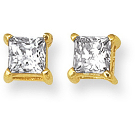 "14K Yellow Gold Shiny 8.0mm (1/3"") Square Faceted White Cubic Zirconia (CZ) Stud Earrings (BTCZ108)"