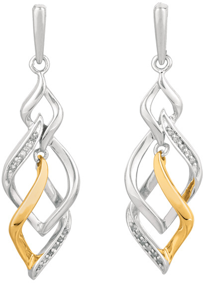 Silver Rhodium & Yellow Finish Shiny 0.10ctw Diamond Intertwine Earrings