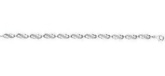 "7.25"" 925 Sterling Silver Rhodium Plated Shiny 0.10ctw Diamond Double 8 Type Shape Link Bracelet w/ Lobster Clasp"