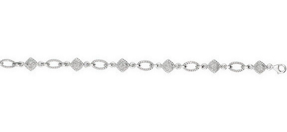 "7.25"" 925 Sterling Silver Rhodium Plated Shiny 0.25ctw Diamond Alternate Ridge Square Open Oval Bracelet w/ Lobster Clasp"