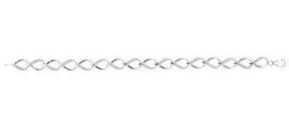Silver Rhodium Plated White 0.121ctw Diamond Bracelet