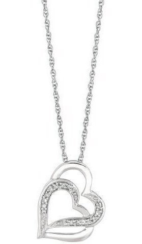 "18"" Rhodium Plated 925 Sterling Silver Shiny 1.1mm (0.04"") Cable Chain w/ 0.07ctw Diamond Fancy Double Open Heart Pendant"