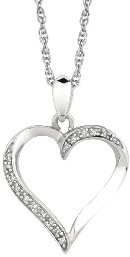 "18"" Rhodium Plated 925 Sterling Silver Shiny 1.1mm (0.04"") Cable Chain w/ 0.05ct Diamond Fancy Open Heart Pendant"