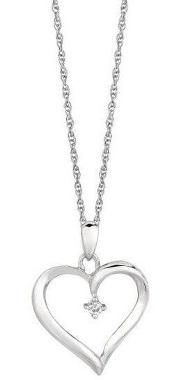 "18"" 925 Sterling Silver Silver Rhodium Plated 1.1mm (0.04"") Shiny Cable Chain w/ 0.04ctw Diamond Fancy Open Heart Pendant"