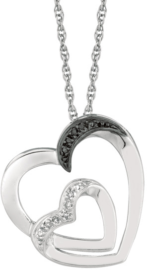 "18"" Rhodium Plated 925 Sterling Silver Shiny 1.1mm (0.04"") Cable Chain w/ 0.03ct Black & White Diamond One Small & One Large Open Heart Pendant"