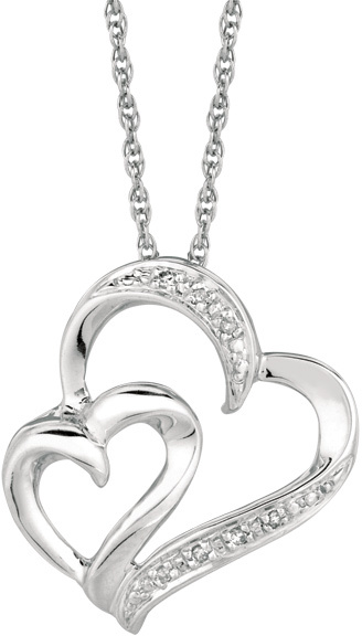 "18"" Rhodium Plated 925 Sterling Silver Shiny 1.1mm (0.04"") Cable Chain w/ 0.03ctw Diamond One Small & One Large Open Heart Pendant"