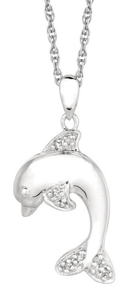 "18"" Rhodium Plated 925 Sterling Silver Shiny 1.1mm (0.04"") Cable Chain w/ 0.05ctw Diamond Dolphin Pendant"