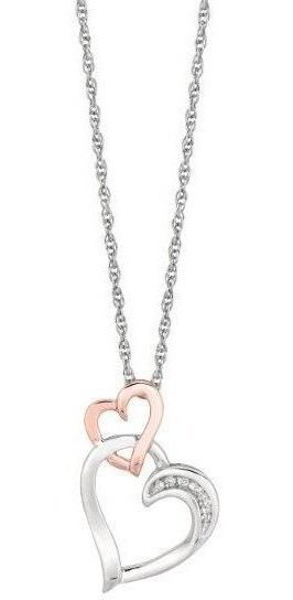 "18"" 925 Sterling Silver Rhodium & Pink Finish Shiny 1.1mm (0.04"") Cable Chain w/ 0.03ctw Diamond Open Heart Pendant"