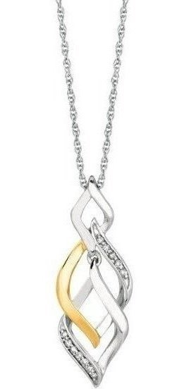 "18"" 925 Sterling Silver Rhodium & Yellow Finish 1.1mm (0.04"") Shiny Cable Chain w/ 0.08ctw Diamond Intertwine Diamond Shape Fancy Pendant"