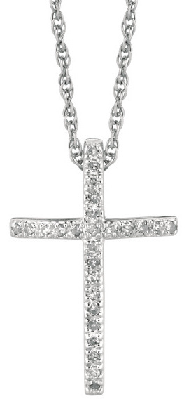 "18"" Rhodium Plated 925 Sterling Silver Shiny 1.1mm (0.04"") Cable Chain w/ 0.12ctw Diamond Cross Pendant"