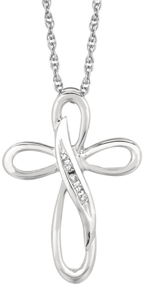 "18"" Rhodium Plated 925 Sterling Silver Shiny 1.1mm (0.04"") Cable Chain w/ 0.05ctw Diamond Twisted Open Cross Pendant"