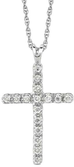 "18"" Rhodium Plated 925 Sterling Silver Shiny 1.1mm (0.04"") Cable Chain w/ 0.05ctw Diamond Cross Pendant"