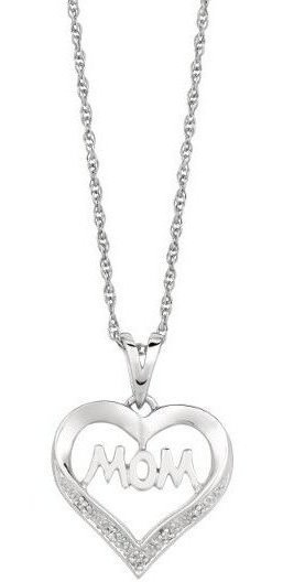 "18"" Rhodium Plated 925 Sterling Silver Shiny 1.1mm (0.04"") Cable Chain w/ 0.02ctw Diamond ""mom"" Open Heart Pendant"