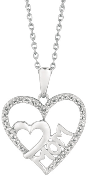 "18"" Rhodium Plated 925 Sterling Silver Shiny 1.1mm (0.04"") Cable Chain w/ 0.10ctw Diamond ""mom"" Small Heart In Large Open Heart Pendant"