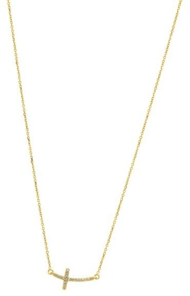 "18"" 14K Yellow Gold Sideways Cross w/ 0.12ctw Diamond Necklace"