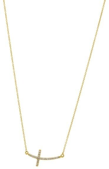 "18"" 14K Yellow Gold Sideways Cross w/ 0.22ctw Diamond Necklace"