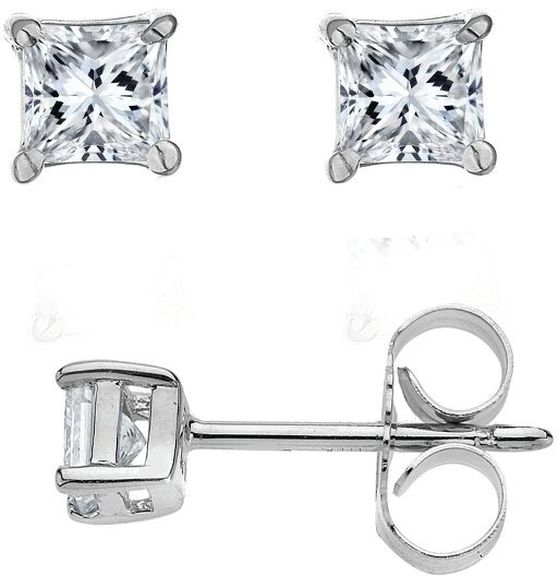 14K White Gold .05ctw Princess Diamond Stud Earrings (BTDWGE600)
