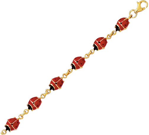 "7"" 14K Yellow Goldalternate Oval Chain Link Mini Ladybug Symbolic Bracelet w/ Pear Shape Clasp"