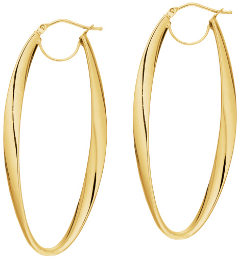 14K Yellow Gold Polished Long Oval Hoop Like Fancy Earrings