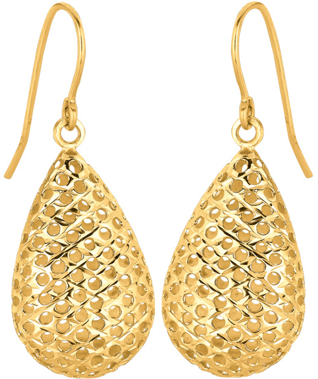 14K Yellow Gold Large Mesh Pear Like Shape Dangle Earrings