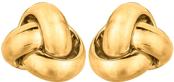 14K Yellow Gold Polished Love Knot Stud Earrings