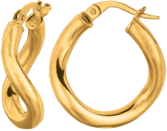 "14K Yellow Gold 3.0x15mm (0.12""x0.59"") Round Tube Like Italian Twist Hoop Earrings"