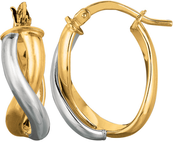 14K Yellow & White Gold Round Like Shape Twisted Double Row Fancy Earrings