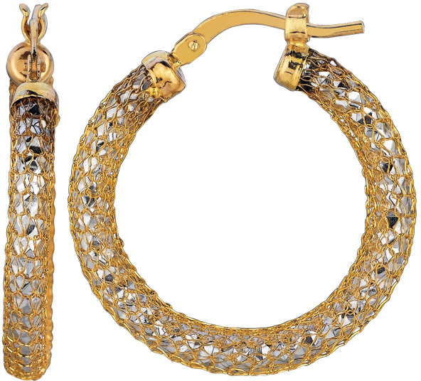 14K Yellow & White Gold Diamond Cut Mesh Like Fashion Sparkle Round Hoop Earrings