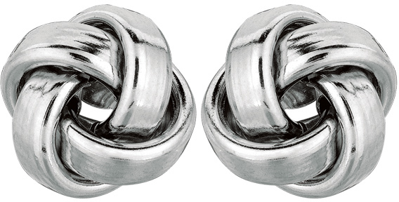 14K White Gold Round Like Love Knot Earrings