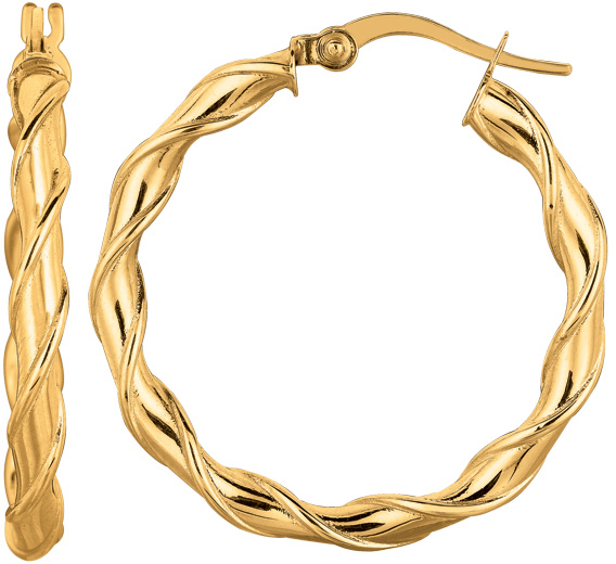 "14K Yellow Gold 25mm (15/16"") Round Like Twisted Hoop Earrings"