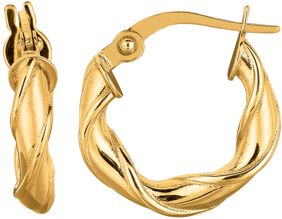 "14K Yellow Gold 10mm (3/8"") Round Like Twisted Hoop Earrings"