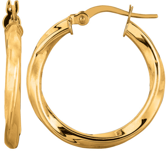 "14K Yellow Gold 3.0x20mm (0.12""x0.79"") Round Tube Like Italian Twist Hoop Earrings"