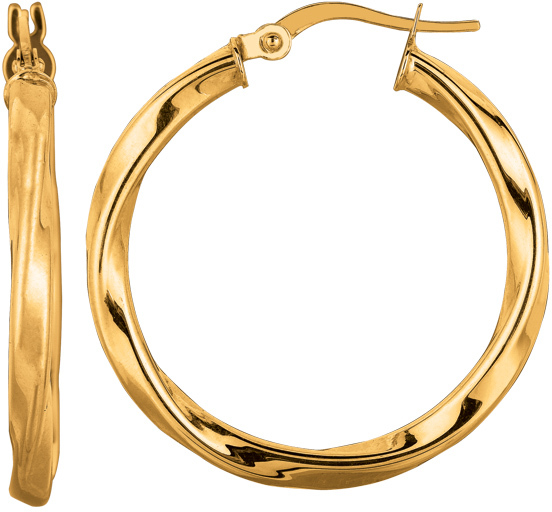 "14K Yellow Gold 3.0x25mm (0.12""x0.98"") Round Tube Like Italian Twist Weave Hoop Earrings"