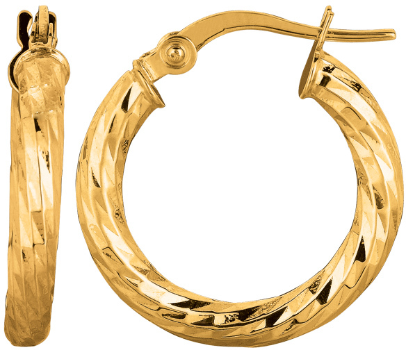 "14K Yellow Gold 2.75x15mm (0.11""x0.59"") Hammered Round Tube Sparkle Hoop Earrings"