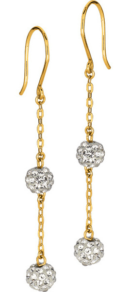 14K Yellow Gold Shiny Cable Chain Link w/ 2 White Crystal Ball Drop Earrings