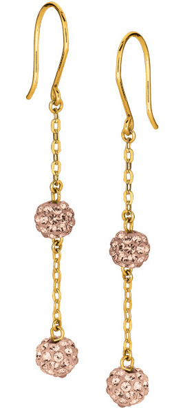 14K Yellow Gold Shiny Cable Chain Link w/ 2 Rose Crystal Ball Drop Earrings