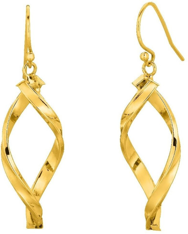 14K Yellow Gold Shiny Oval Shape Freeform Drop Earrings