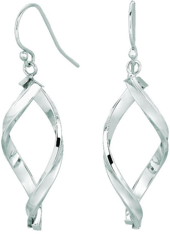 14K White Gold Shiny Oval Shape Freeform Drop Earrings