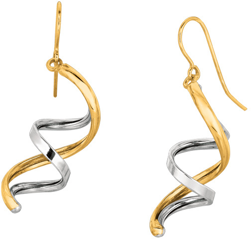 14K Yellow & White Gold Shiny Double Row Fancy Drop Earrings