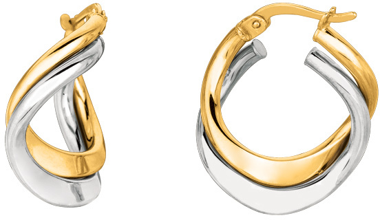 14K Yellow & White Gold Shiny Double Row Hoop Earrings