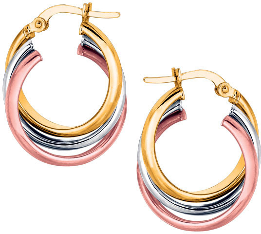 14K Yellow, White & Rose Gold Shiny Triple Row Hoop Earrings