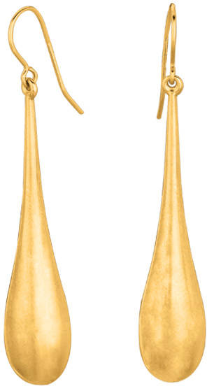 14K Yellow Gold Shiny Long Teardrop Earrings