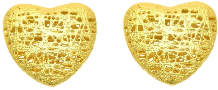 14K Yellow Gold 12mm Sanded Heart Stud Earrings