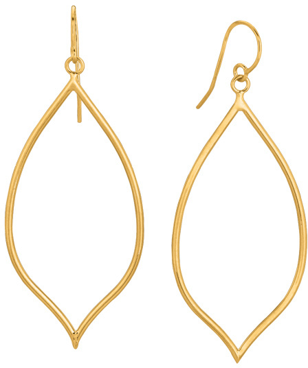 14K Yellow Gold Shiny Pear Shape Freeform Drop Earrings (BTER1812)