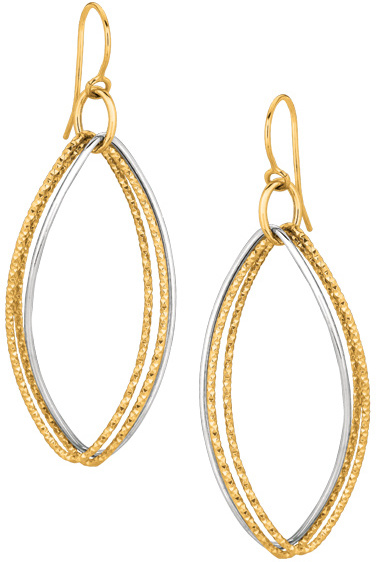 14K Yellow & White Gold Shiny Diamond Cut Marquise Shape Freeform Drop Earrings