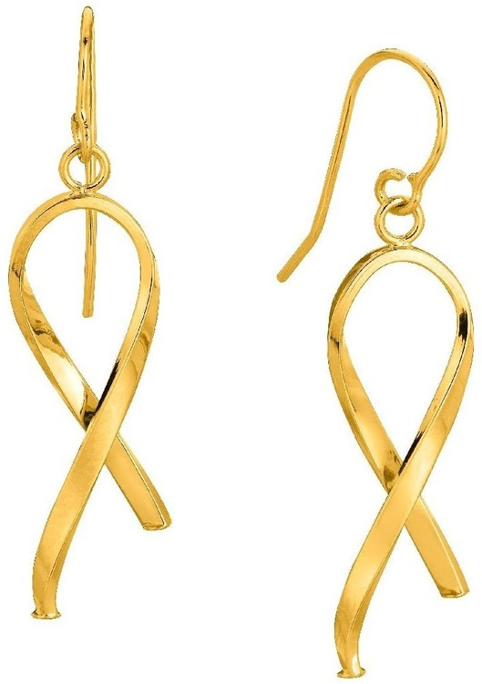 14K Yellow Gold Shiny Ribbon Like Freeform Drop Earrings (BTER1820)