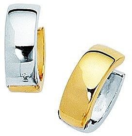 14K Yellow & White Gold Shiny Small Snuggable Huggie Hoop Earrings