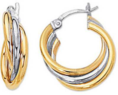 14K Yellow & White Gold Polished 2 Tone Triple Hoop Earrings